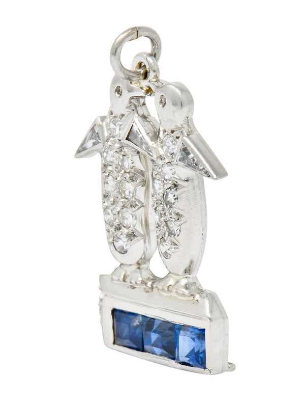 Art Deco 1.20 CTW Diamond Sapphire Platinum Penguin Charm - Wilson's Estate Jewelry