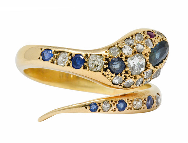 .11111 *Large Victorian Sapphire Diamond 14 Karat Gold Unisex Bypass Snake Ring - Wilson's Estate Jewelry
