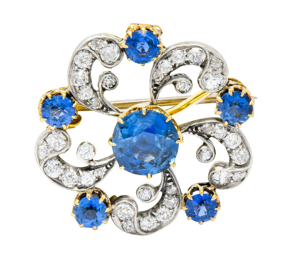 Edwardian 3.90 CTW Sapphire Diamond Platinum-Topped Floral Pendant Brooch - Wilson's Estate Jewelry