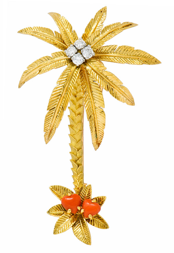 French Cartier Diamond Coral 18 Karat Gold Vintage Palm Tree Brooch
