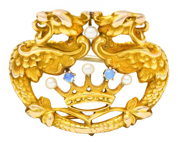 Art Nouveau 14 Karat Gold Opal Pearl Winged Griffin Crown Brooch Watch Pin