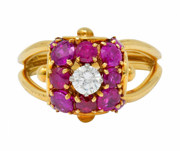.11111 *Vintage Diamond Ruby 14 Karat Gold Pave Ball Ring - Wilson's Estate Jewelry