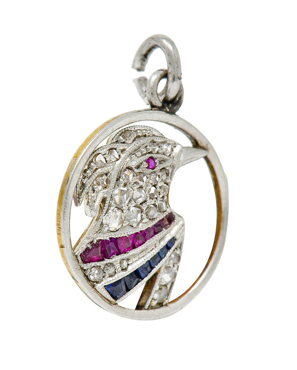 Art Deco Diamond Ruby Sapphire Platinum-topped 18 Karat Gold Heron Bird Charm