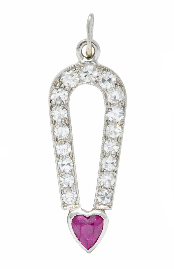 Art Deco Ruby Diamond Platinum Love Magnet Heart Charm - Wilson's Estate Jewelry