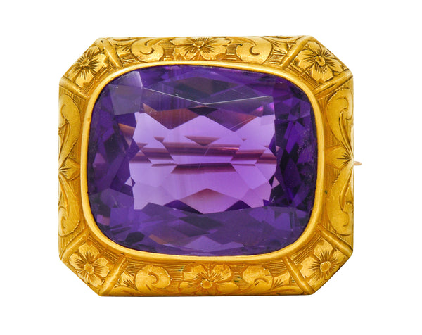 .11111 *Alling & Co. Art Nouveau Amethyst 14 Karat Gold Floral Watch Pin Brooch - Wilson's Estate Jewelry