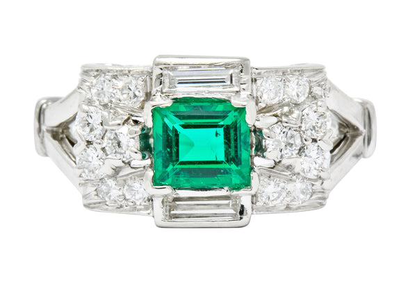Tiffany & Co. Emerald Baguette Brilliant Diamond Platinum Ring Circa 1950 - Wilson's Estate Jewelry