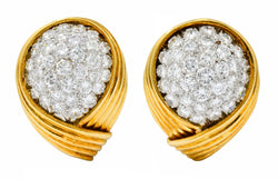 David Webb 3.50 CTW Pave Diamond 18 Karat Gold Platinum Ear-Clip Earrings