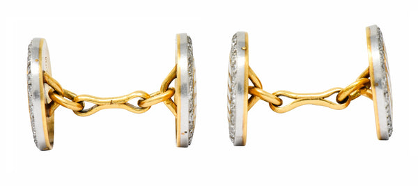 Cartier Paris Diamond Enamel Platinum-Topped 18 Karat Gold Men's Cufflinks