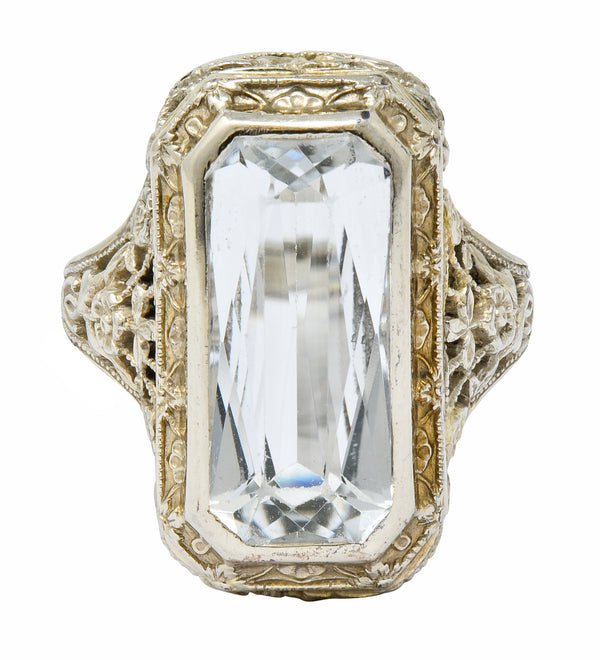 Early Art Deco Aquamarine 14 Karat White Gold Floral Lace Ring