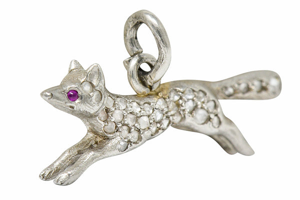 1920's Art Deco Pave Diamond Platinum Fox Charm