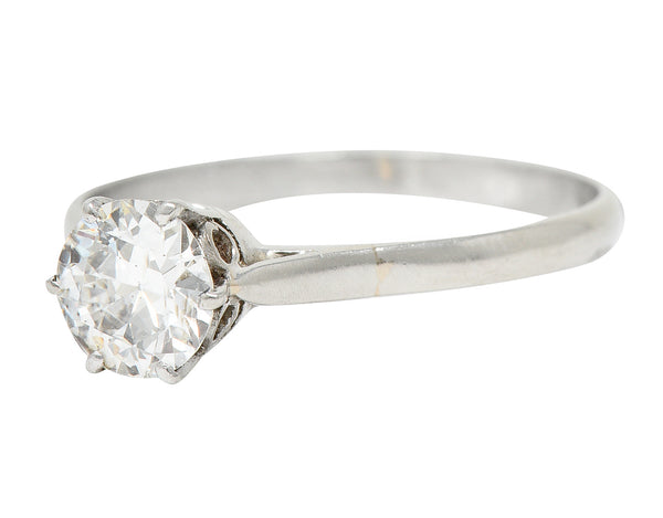 Art Deco 3.60 CTW Emerald Diamond 18 Karat White Gold Cluster Band Ring - Wilson's Estate Jewelry