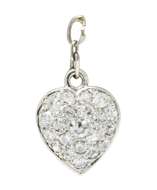 Art Deco 0.55 CTW Pavé Diamond Platinum Heart Charm - Wilson's Estate Jewelry