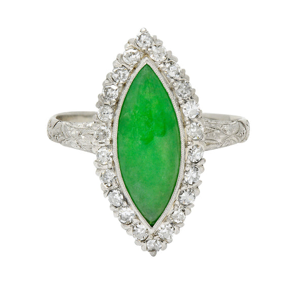 1930's Art Deco Jade Diamond Platinum Navette Cluster Ring
