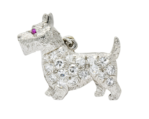 Art Deco Pavé Diamond Platinum Scottish Terrier Dog Charm - Wilson's Estate Jewelry