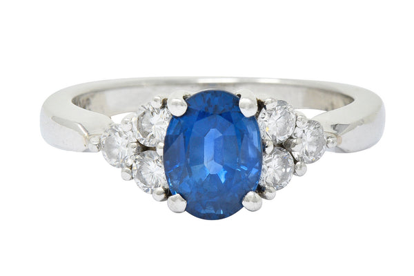 Modern 1.51 CTW Sapphire Diamond Platinum Engagement Ring