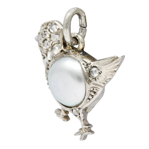 1920's Art Deco Pave Diamond Pearl Platinum Chick Charm