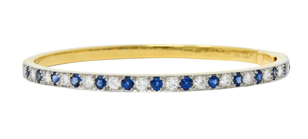 1950's Oscar Heyman Bros. Sapphire Diamond 18 Karat Gold Platinum Bangle Bracelet