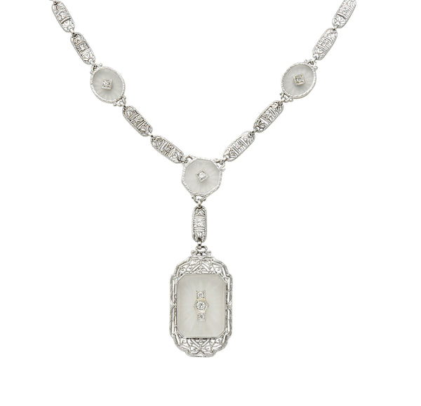 Early Art Deco Diamond Camphor Glass Platinum 14 Karat White Gold Drop Necklace