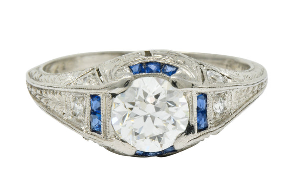 Art Deco 0.84 CTW Diamond Sapphire Platinum Floral Engagement Ring