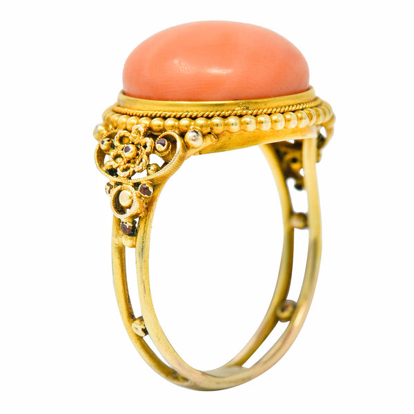 Victorian 14 Karat Yellow Gold Orange Coral Cocktail Ring