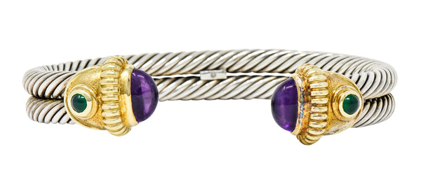 David Yurman Amethyst Chrysoprase 14 Karat Gold Sterling Silver Cable Cuff