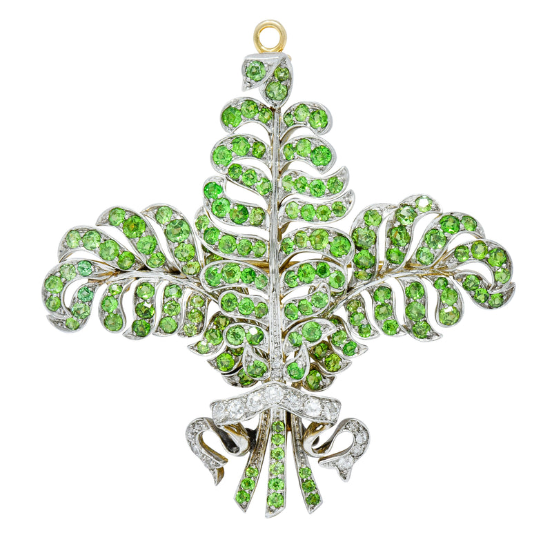 T.B. Starr Demantoid Garnet Diamond Platinum 18 Karat Gold Fern Edwardian Pendant Brooch