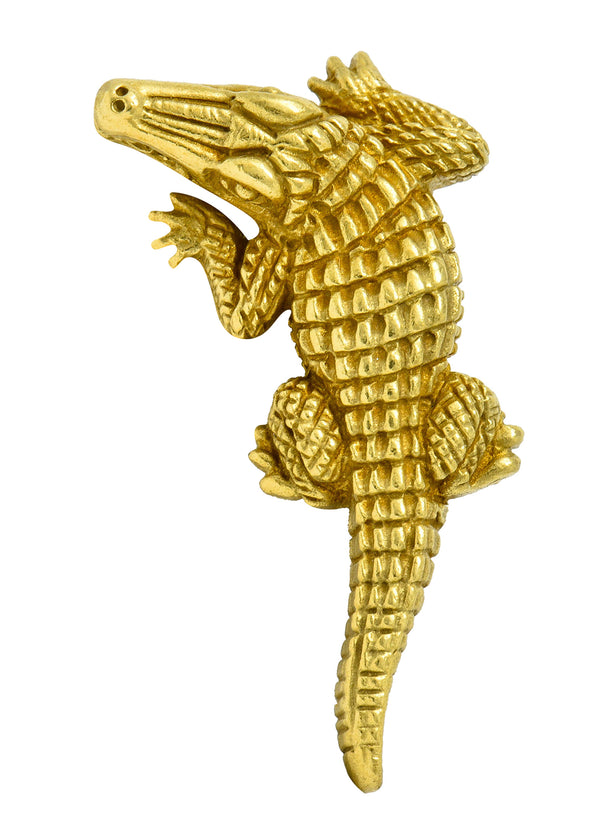 1988 Kieselstein Cord Vintage 18 Karat Green Gold Alligator Brooch