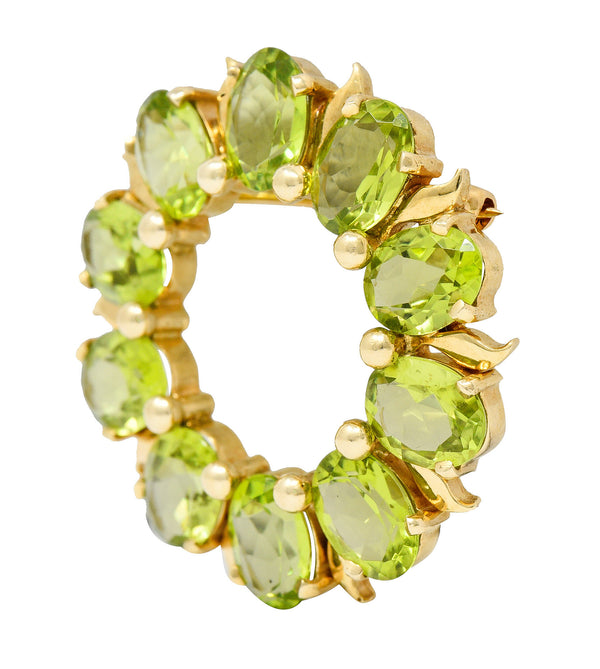 Tiffany & Co. Retro 14 Karat Gold Peridot Circle Brooch