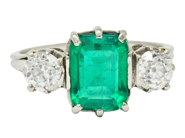 Edwardian 2.80 CTW Colombian Emerald Diamond Platinum Three Stone Ring GIA