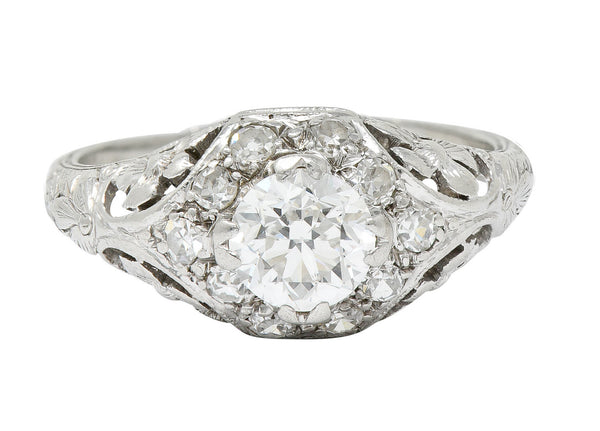 1930's William Kinscherf Co. 0.85 CTW Diamond Platinum Floral Engagement Ring