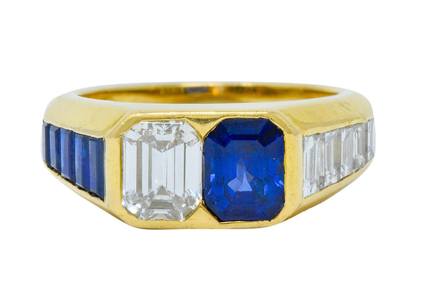 Van Cleef & Arpels 3.57 CTW Diamond Sapphire 18 Karat Gold French Unisex Ring
