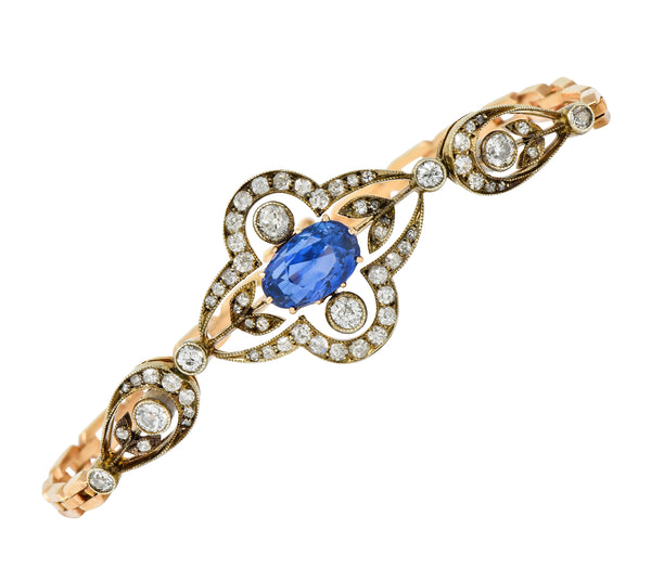 1920's Russian 4.00 CTW No Heat Ceylon Sapphire Diamond 14 Karat Two-Tone Gold Bracelet GIA