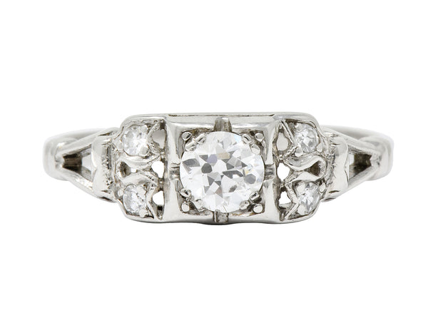 Katz & Ogush Art Deco Diamond Platinum Engagement Ring Circa 1930 - Wilson's Estate Jewelry
