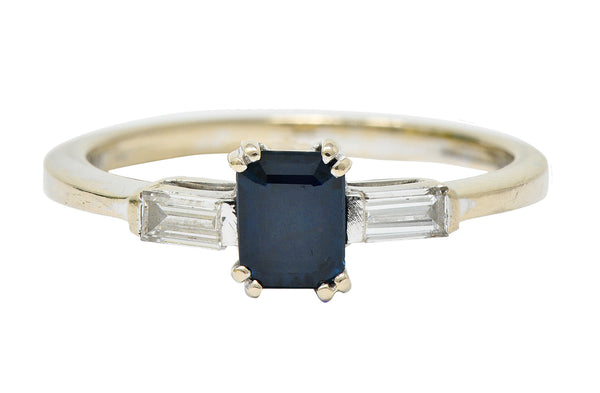 Vintage 0.95 CTW Sapphire Diamond 18 Karat White Gold Three Stone Ring