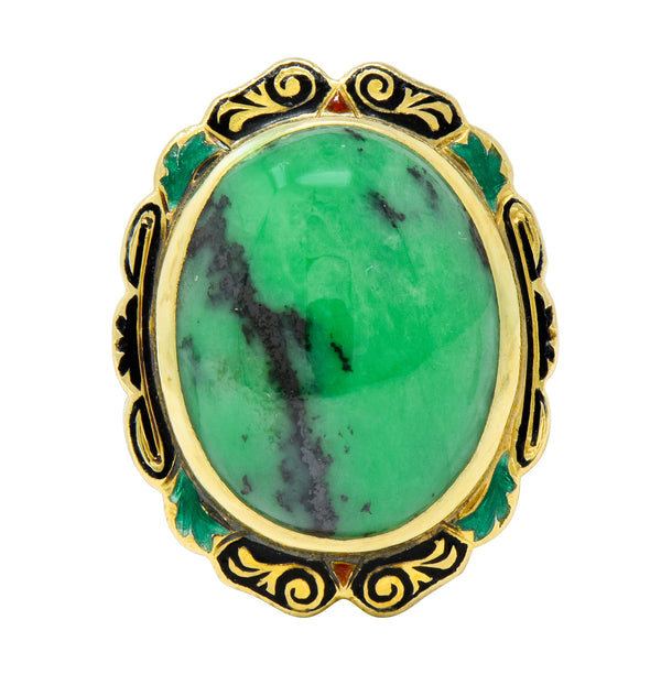 Art Nouveau Hardstone Cabochon Enamel 14 Karat Gold Gemstone Ring - Wilson's Estate Jewelry