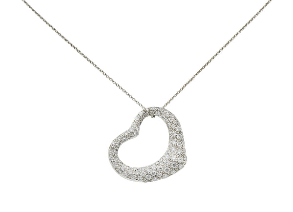 Elsa Peretti Tiffany & Co. 3.00 CTW Diamond Platinum 28MM Open Heart Pendant Necklace