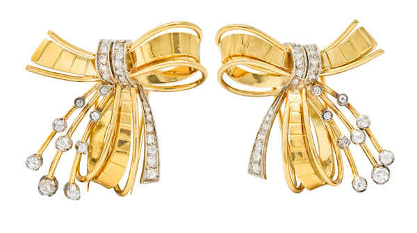 Retro 2.75 CTW Diamond 18 Karat Two-Tone Gold Bow Clips - Wilson's Estate Jewelry