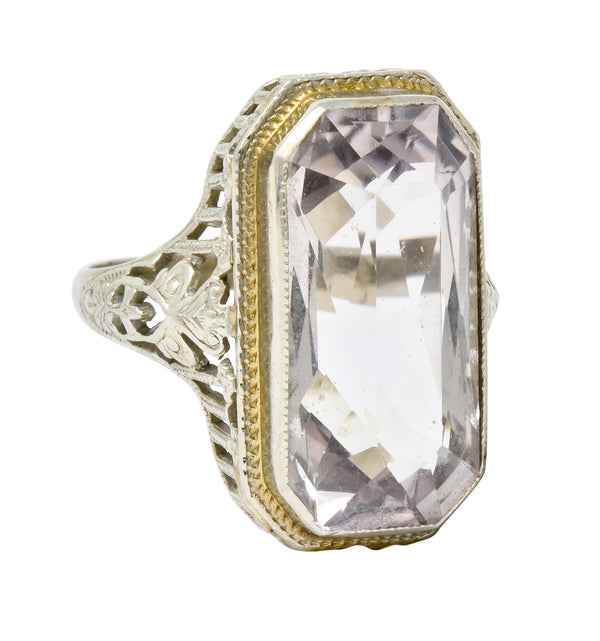 Art Nouveau Light Smokey Quartz 18 Karat Gold Gemstone Ring - Wilson's Estate Jewelry