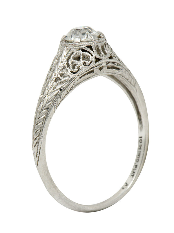 W.W. Fulmer & Co. 0.35 CTW Diamond Platinum Filigree Engagement Ring