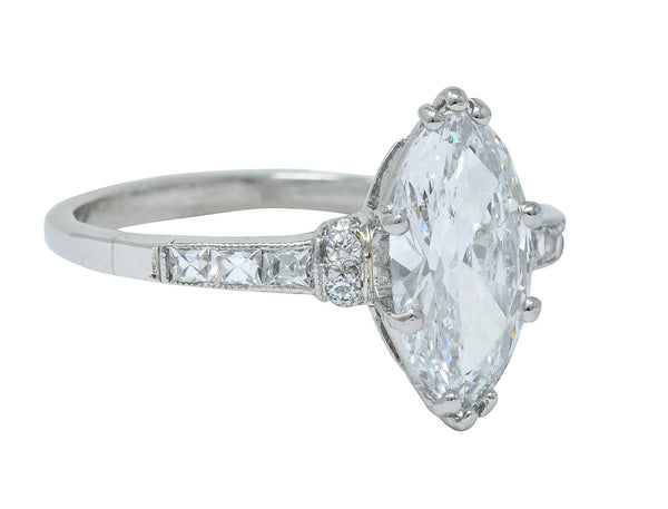 Tiffany & Co. 1.69 CTW Art Deco Marquise Cut Diamond Platinum Engagement Ring GIA