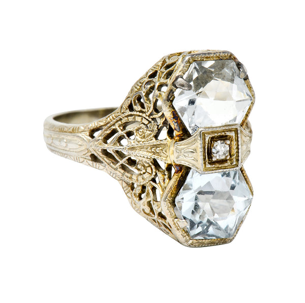 Edwardian Aquamarine Diamond 14 Karat White Gold Dinner Ring - Wilson's Estate Jewelry
