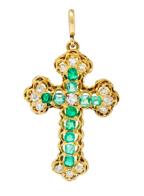 Victorian 2.67 CTW Emerald Diamond 18 Karat Gold Cross Pendant Brooch - Wilson's Estate Jewelry
