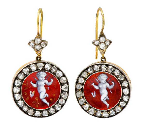 Victorian Rose Cut Diamond Enamel Silver-Topped 18 Karat Gold Cherub Drop Earrings - Wilson's Estate Jewelry