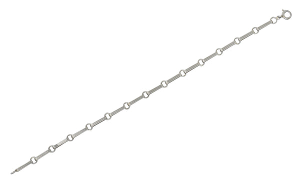 Sleek Art Deco Platinum Bar Link Charm Bracelet - Wilson's Estate Jewelry