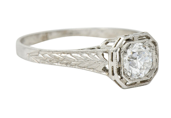 Art Deco 0.38 CTW Diamond Platinum Foliate Engagement Ring