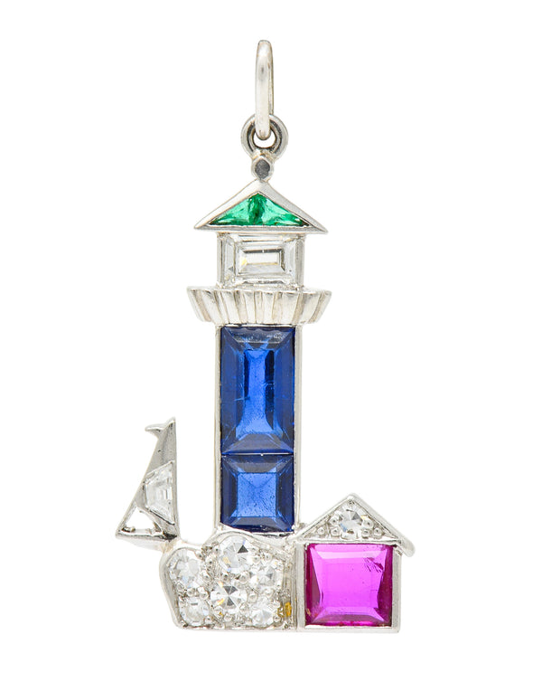 Large Art Deco Sapphire Emerald Ruby Diamond Platinum Lighthouse Charm - Wilson's Estate Jewelry