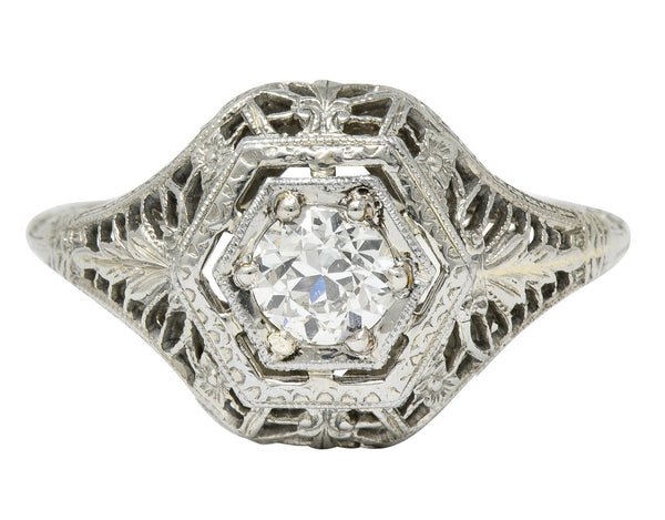 Edwardian 0.32 CTW Diamond 18 Karat White Gold Hexagonal Engagement Ring