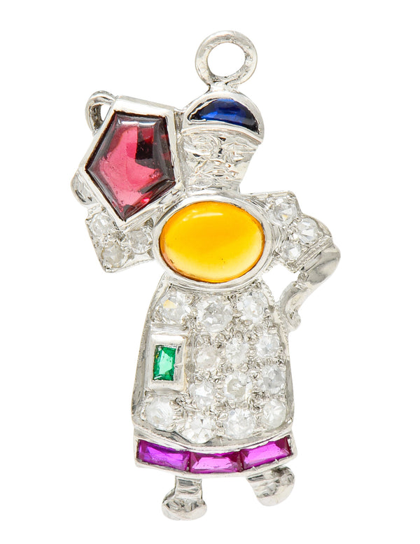 Large Art Deco Diamond Multi-Gem Platinum Woman Carrying Water Charm - Wilson's Estate Jewelry
