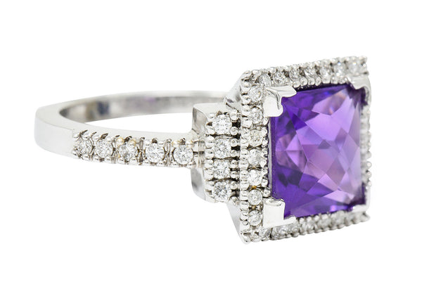 Saturated Amethyst Diamond 18 Karat White Gold Square Halo Ring