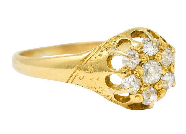 Victorian Old Mine Diamond 18 Karat Gold Cluster Ring